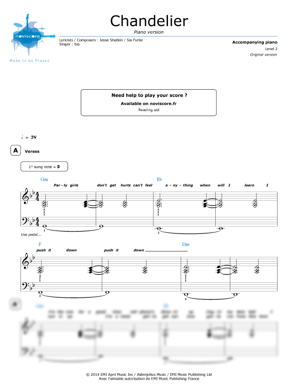 Piano sheet music Chandelier (Piano version) (Sia) | Noviscore sheets