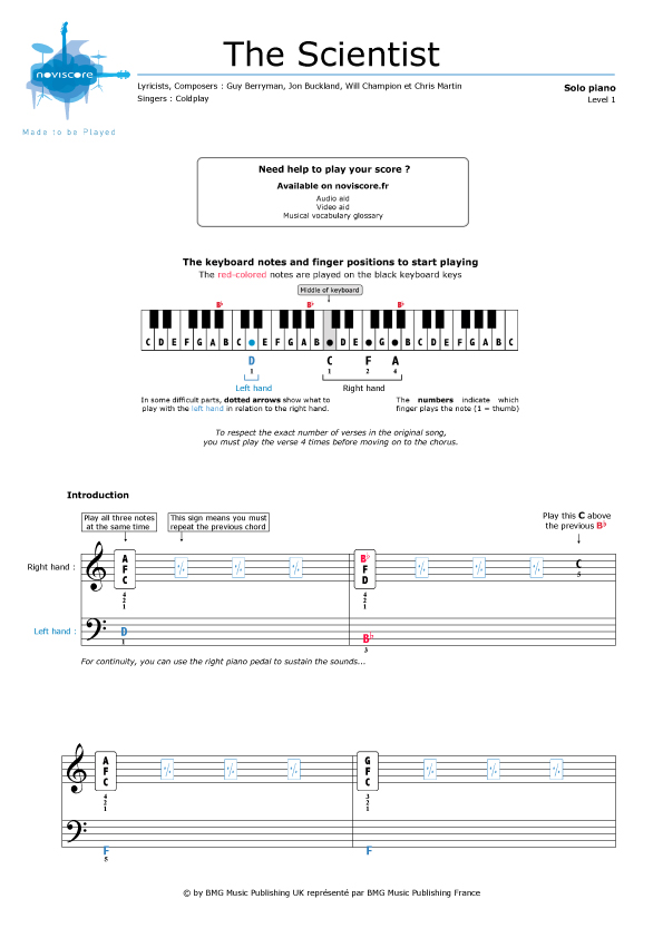 Piano Sheet Music The Scientist Coldplay Noviscore Sheets