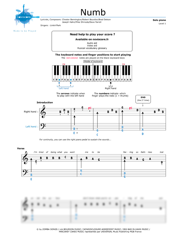 Piano sheet music Numb (Linkin' Park) | Noviscore sheets