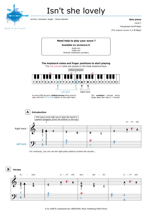Piano Sheet Music Isnt She Lovely Stevie Wonder Noviscore Sheets