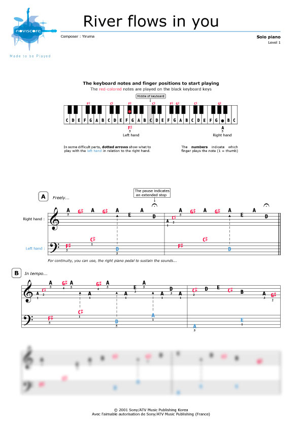 All Music Chords sheet music for river flows in you : Piano sheet music River flows in you (Yiruma) | Noviscore sheets