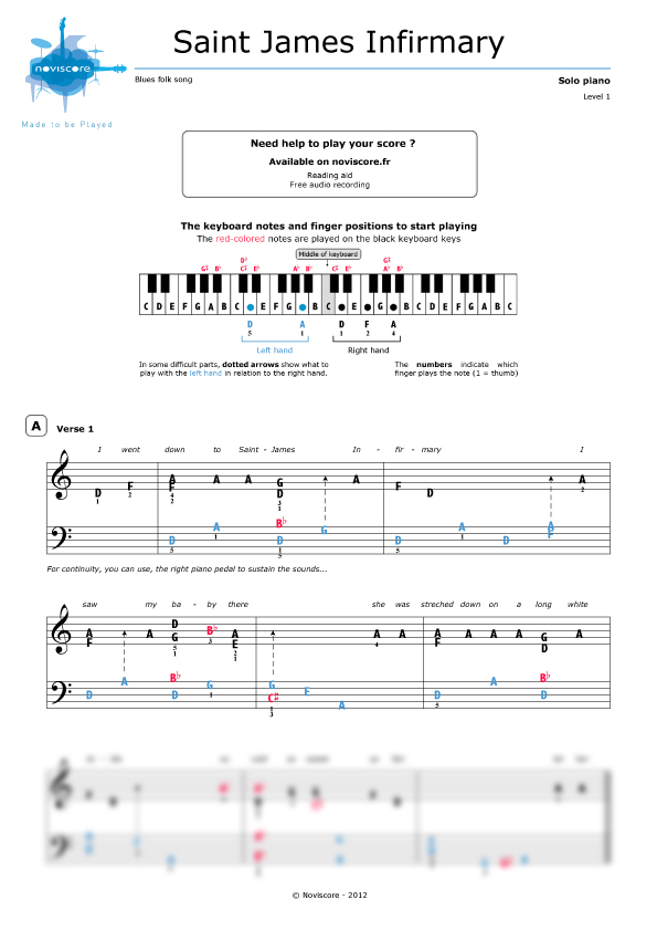 Piano sheet music St  James Infirmary Blues (Blues traditionnel