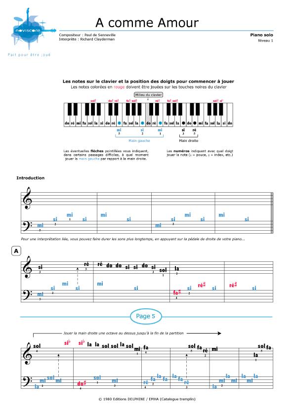Piano sheet music A comme Amour (Richard Clayderman) | Noviscore ...