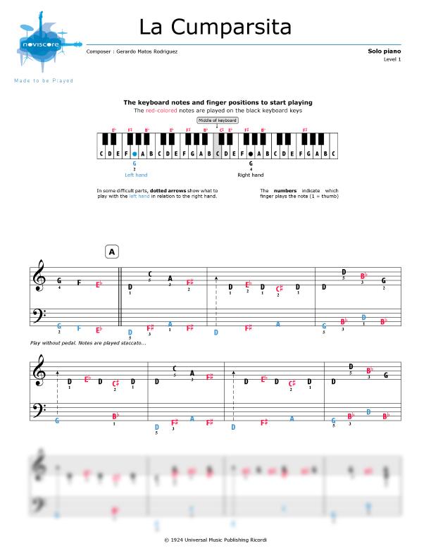 Piano easy piano sheet : Piano sheet music La Cumparsita (Gerardo Matos Rodriguez ...