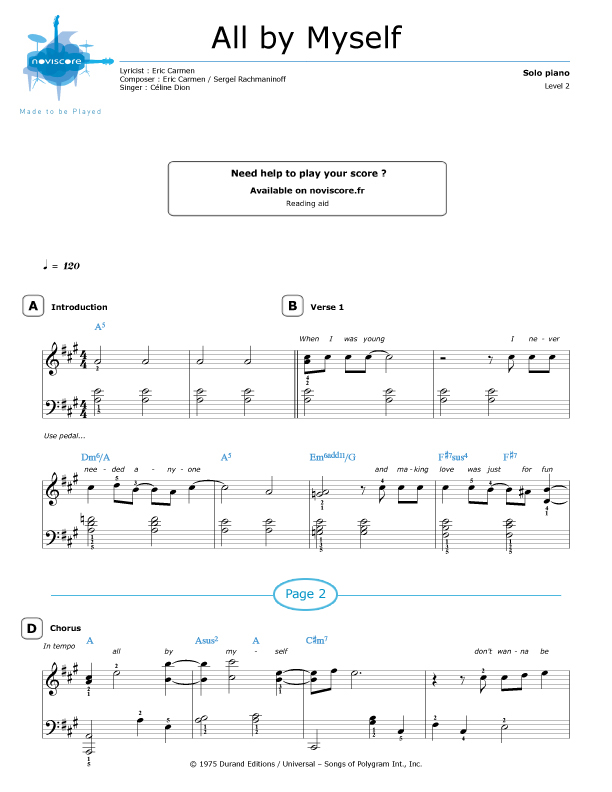 All Music Chords rachmaninoff sheet music : Piano sheet music All By Myself (Céline Dion) | Noviscore sheets