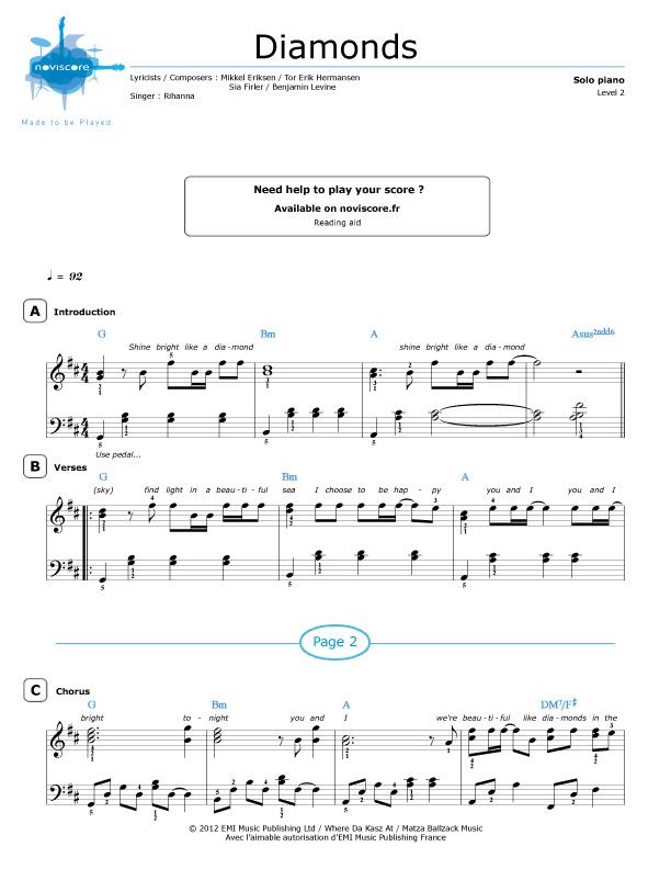 diamonds rihanna piano sheet music pdf
