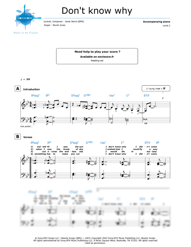 All Music Chords don t know why norah jones sheet music : Piano sheet music Don't Know Why (Norah Jones) | Noviscore sheets