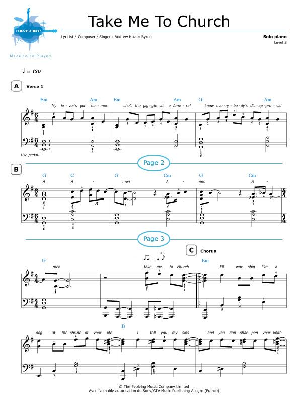 Piano sheet music Take Me To Church (Hozier) | Noviscore sheets