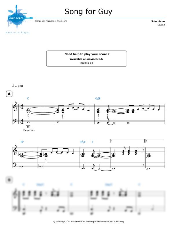 elton john song for guy sheet music free