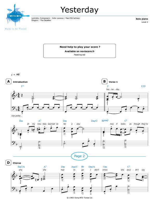 Piano sheet music Yesterday (The Beatles)   Noviscore sheets