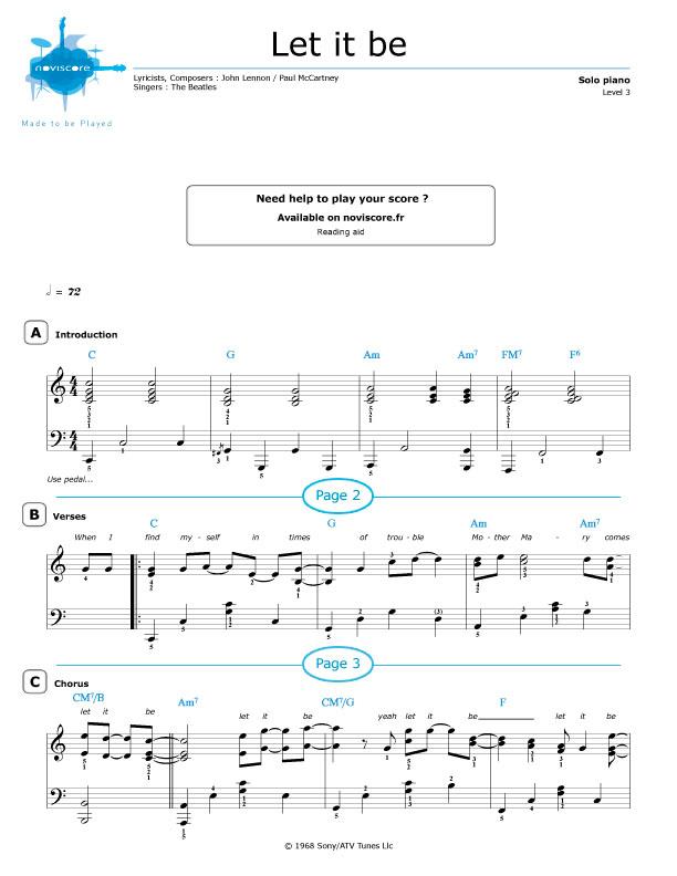 Piano sheet music Let It Be (The Beatles)   Noviscore sheets