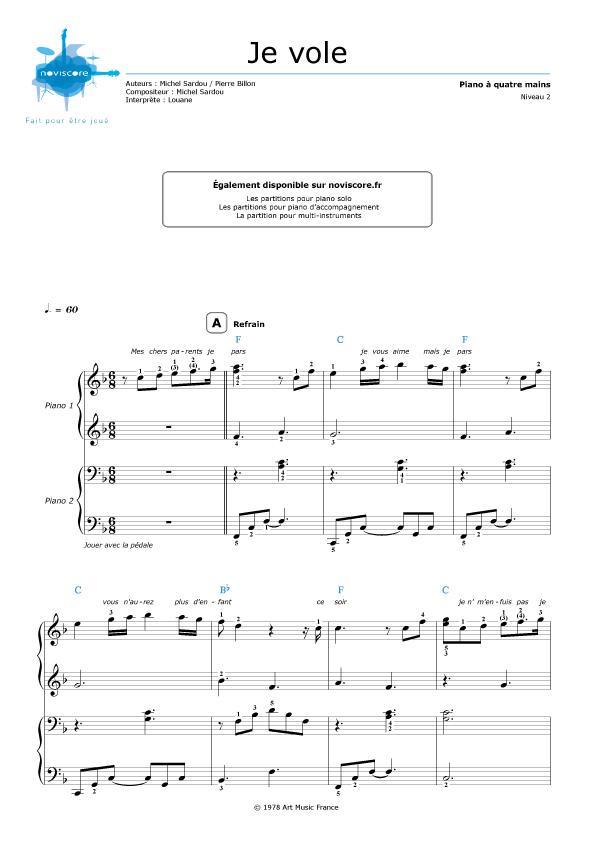 Piano 4 hands Je vole (Louane Emera) : Partitions Noviscore