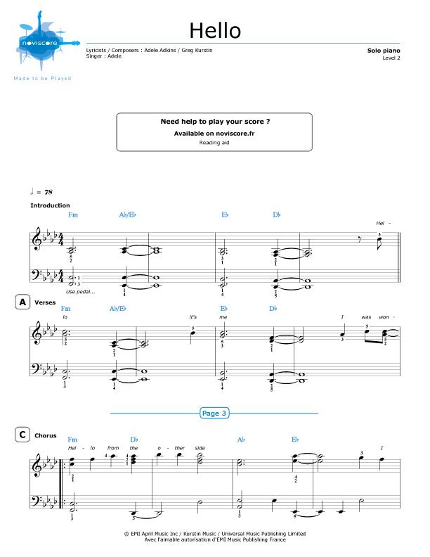 Piano hello piano sheet music : Piano sheet music Hello (Adele) | Noviscore sheets