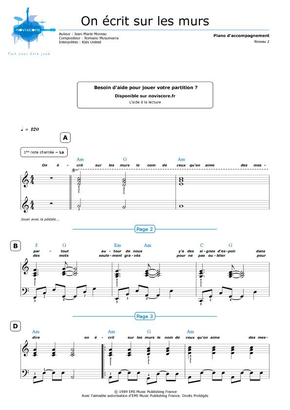 Populaire Piano sheet music On écrit sur les murs (Kids United) | Noviscore  ET06
