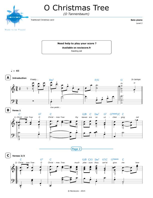 O Tannenbaum Piano.Piano Sheet Music O Christmas Tree Chanson De Noël Noviscore Sheets