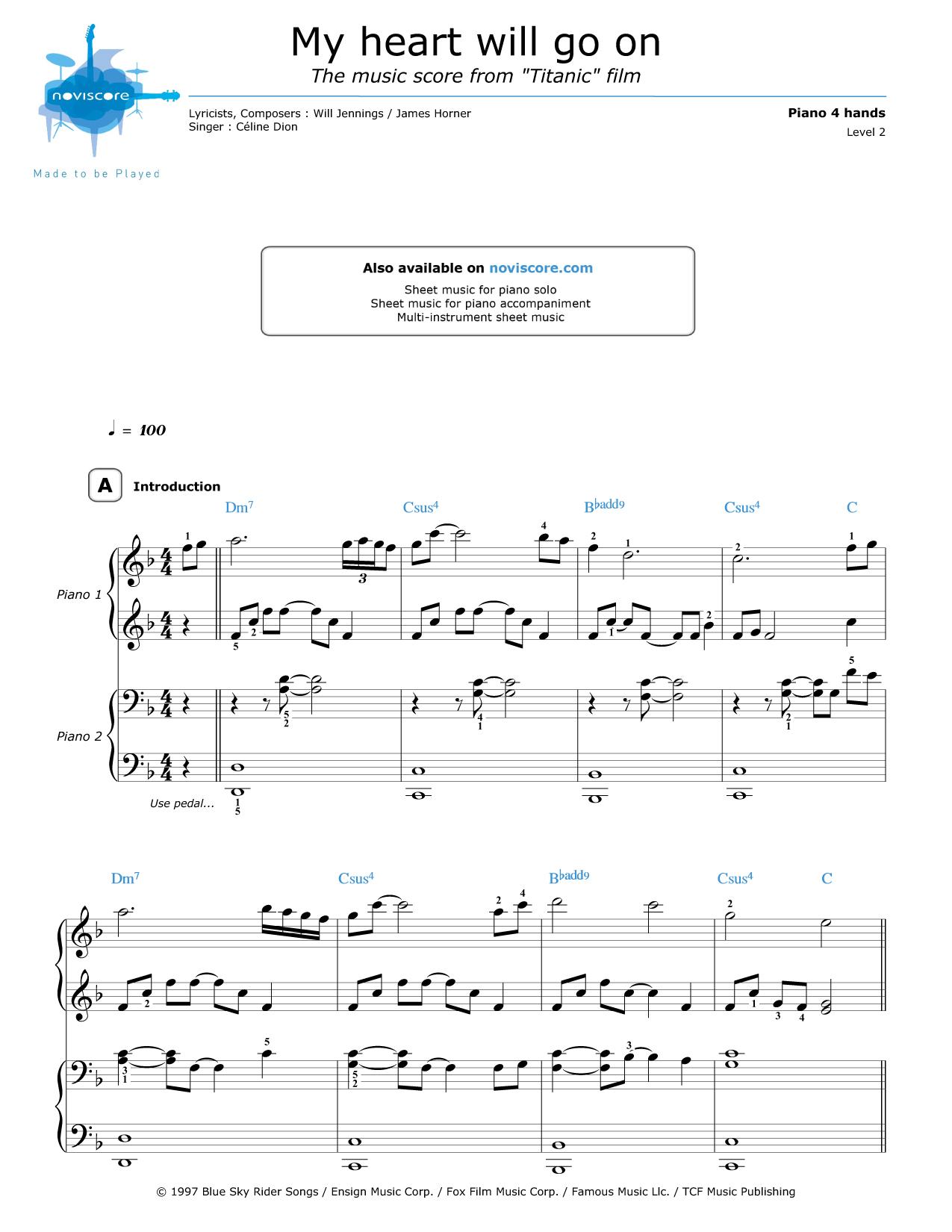All Music Chords my heart will go on sheet music : Piano 4 hands My Heart Will Go On (Céline Dion) | Partitions Noviscore