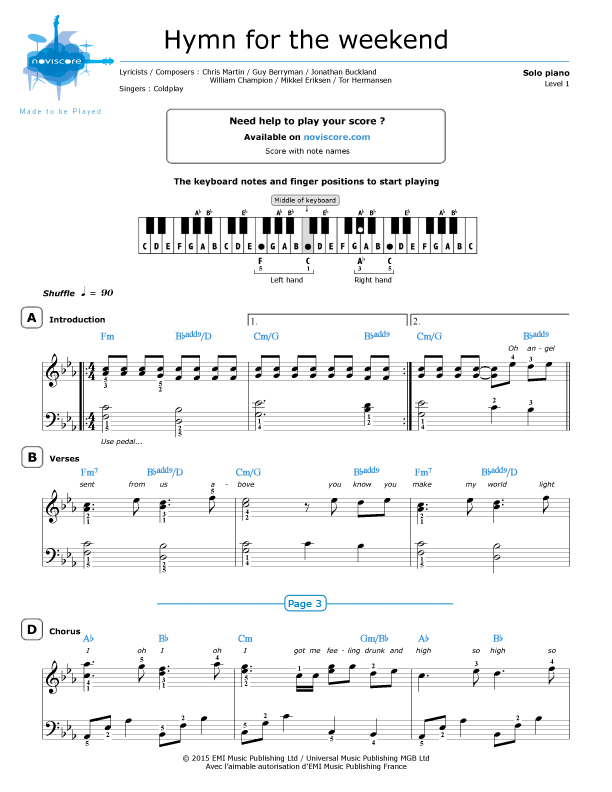 Piano piano sheet music with letters : Piano sheet music Hymn for the Weekend (Coldplay) | Noviscore sheets