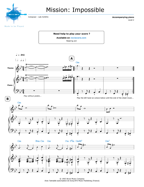 Piano mission impossible piano sheet music : Piano sheet music Mission: Impossible Theme (Lalo Schifrin ...