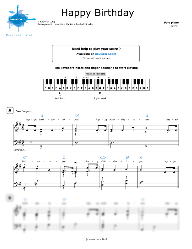 Piano sheet music Happy Birthday To You (Chanson pour enfants ...