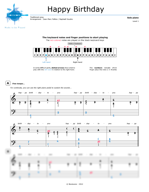 Piano Sheet Music Happy Birthday To You Chanson Pour Enfants