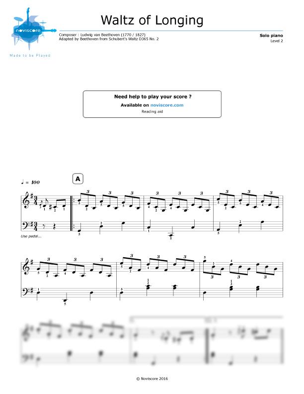 Piano sheet music Waltz of Longing (Ludwig van Beethoven