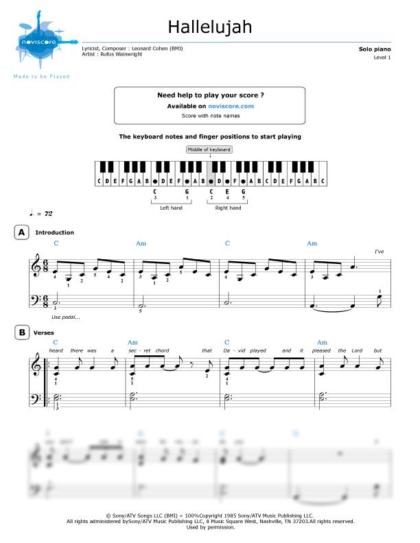 Piano hallelujah shrek piano sheet music : Piano sheet music Hallelujah (Rufus Wainwright) | Noviscore sheets