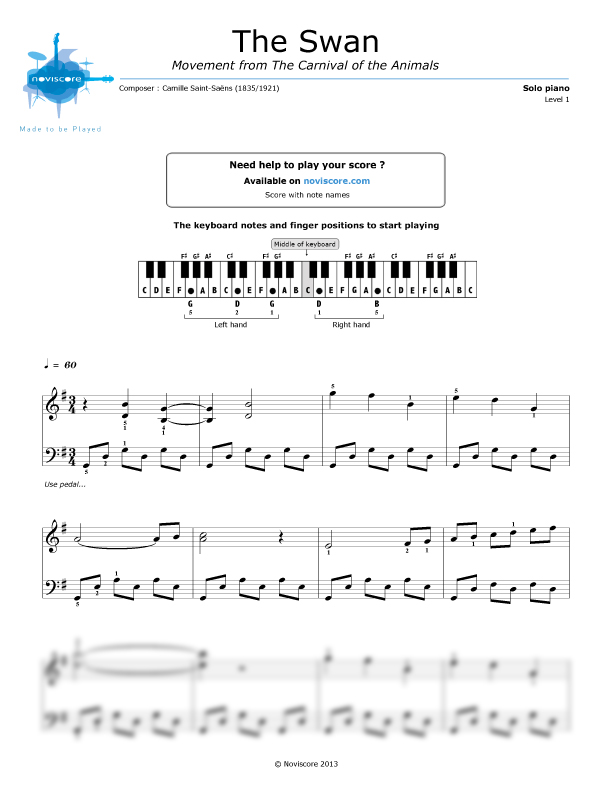 Piano sheet music The Swan (Camille Saint-Saëns) | Noviscore sheets
