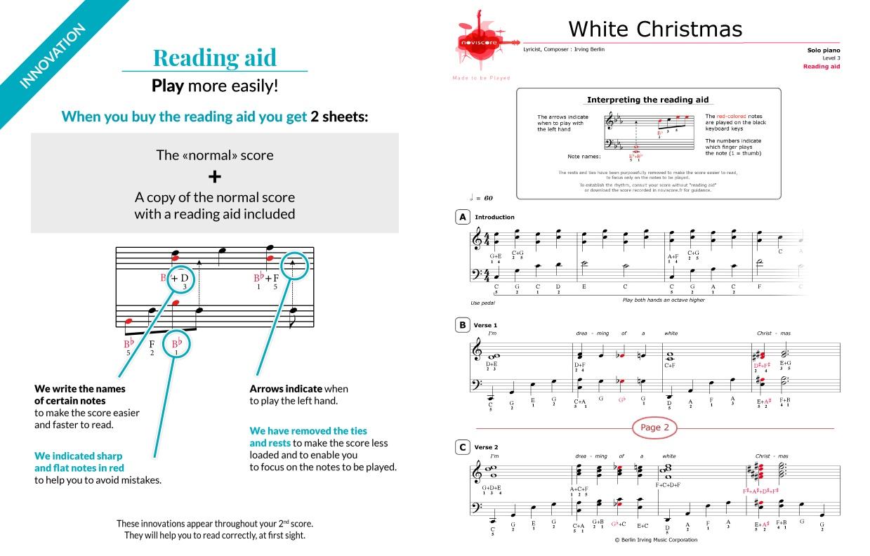 Piano sheet music White Christmas (Chanson de Noël) | Noviscore sheets