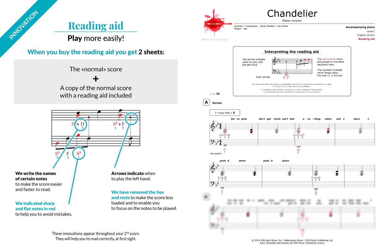 Piano sheet music chandelier piano version sia noviscore sheets preview audio sample aloadofball Gallery