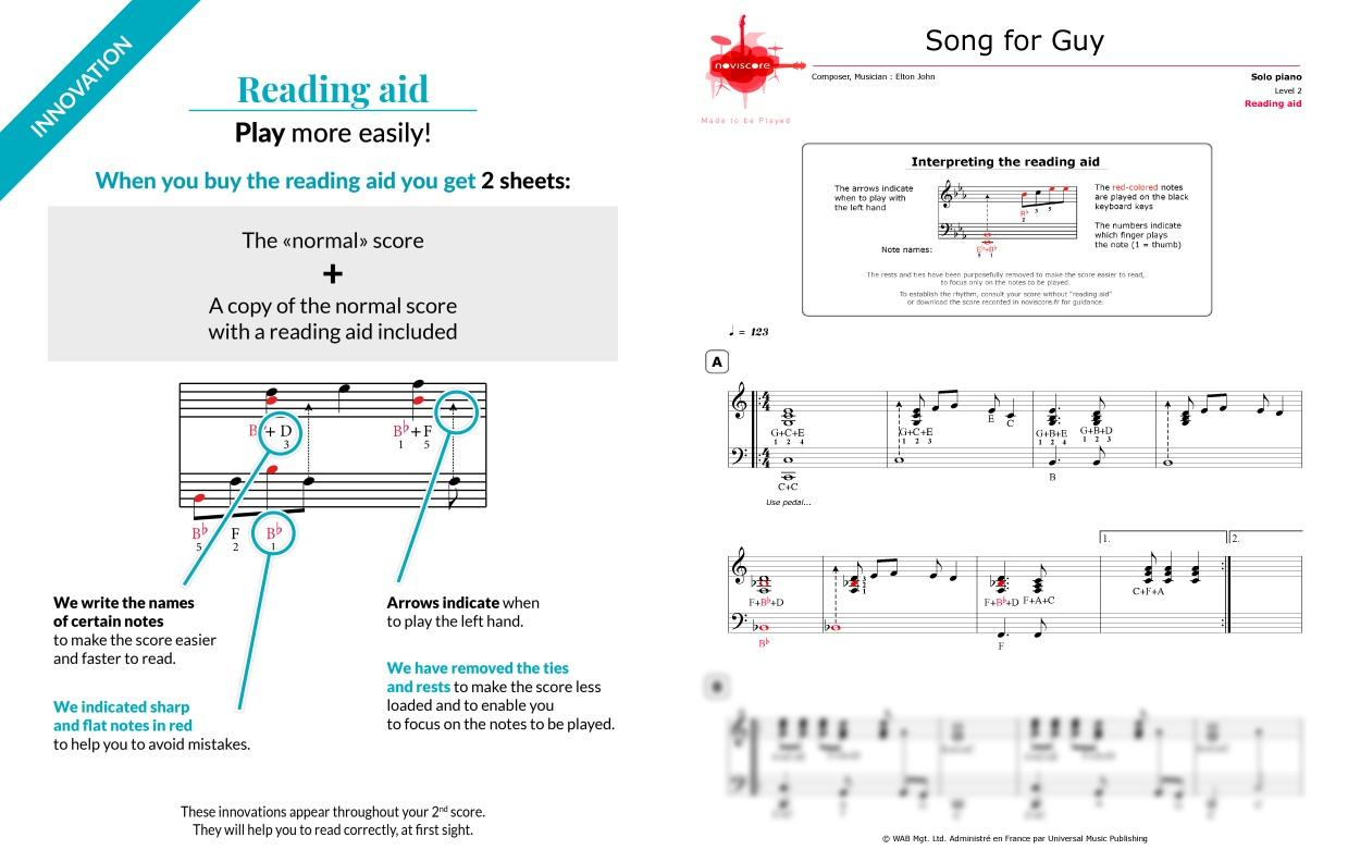 Piano sheet music Song for Guy (Elton John) | Noviscore sheets