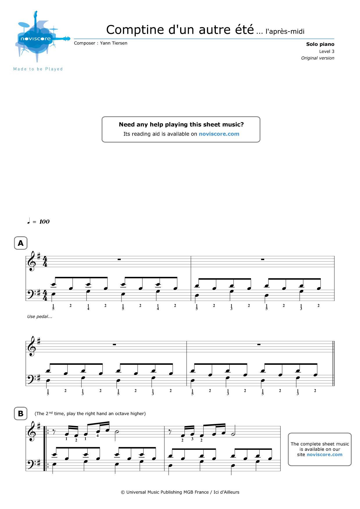 Free Piano Sheet Music Comptine Dun Autre été Yann Tiersen
