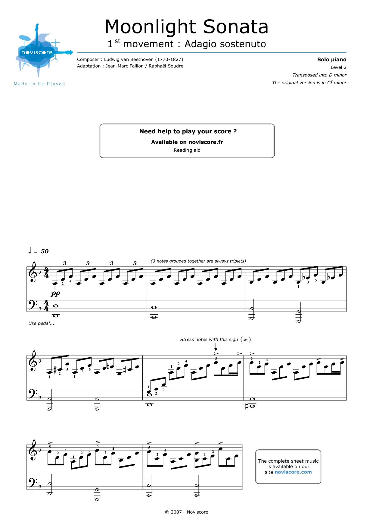 free Piano sheet music Moonlight Sonata (Adagio) (Ludwig van