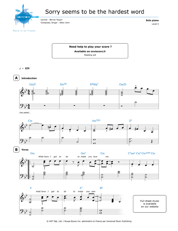 free Piano sheet music Sorry Seems to Be the Hardest Word (Elton