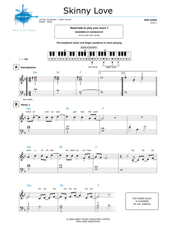 Piano piano sheet music with letters : free Piano sheet music Skinny Love (Birdy) | Noviscore sheets