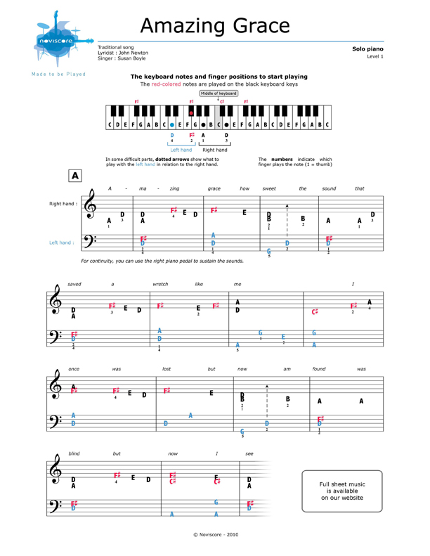 graphic about Free Printable Piano Sheet Music for Amazing Grace known as no cost Piano sheet tunes Remarkable Grace (Susan Boyle