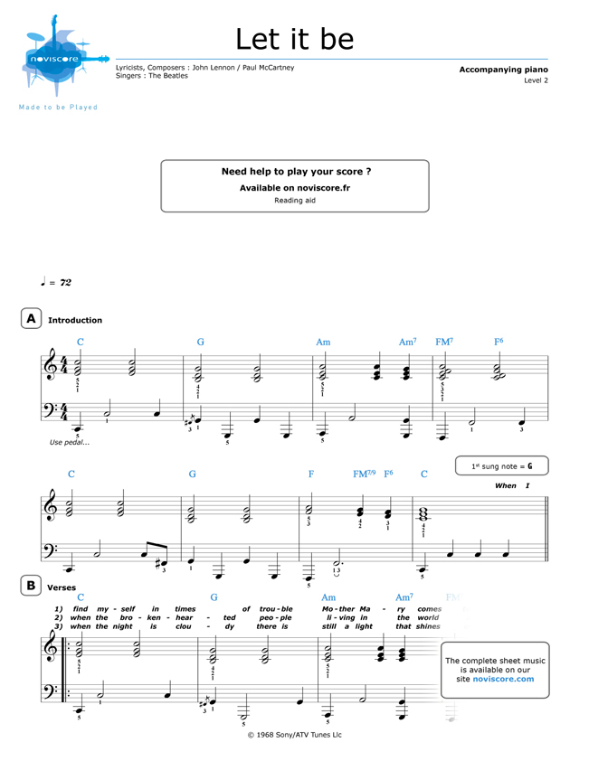 picture relating to Let It Be Piano Sheet Music Free Printable known as absolutely free Piano sheet new music Permit It Be (The Beatles) Noviscore