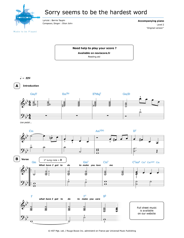 free Piano sheet music Sorry Seems to Be the Hardest Word
